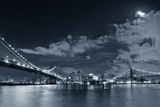 Brooklyn Bridge and Manhattan Bridge over East River at Night with Moon in New York City Manhattan Photographic Print by Songquan Deng