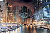 Chicago River Walk with Urban Skyscrapers Illuminated with Lights and Water Reflection at Night. Photographic Print by Songquan Deng
