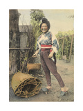 A Japanese Farmer Girl, in Traditional Clothing, Carries a Basket Photographic Print by H.M. Herget