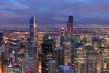 Chicago Skyline Panorama Aerial View with Skyscrapers with Cloudy  Sky at Dusk. Photographic Print by Songquan Deng