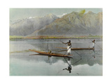 Men Fish from their Boats in the Scenic Dal Lake Giclee Print by H.M. Herget