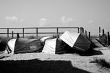 Row Boats on Ocean Beach Fire Island New York B/W Photo
