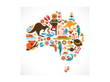 Australia Map Prints by  Marish