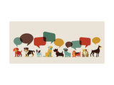 Dogs with Speech Bubbles - Vector Set of Icons and Illustrations Giclee-tryk i høj kvalitet af  Marish