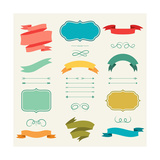 Set of Romantic Arrows, Ribbons and Labels in Retro Style. Premium Giclee Print by  incomible