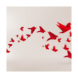 Origami Paper Bird on Abstract Background Prints by Tarchyshnik Andrei