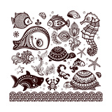 Vector Set of Fish, Shells and Flowers with Ornaments Print by  transiastock