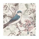 Seamless Floral Background with Bird Art by Varvara Kurakina