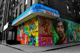 Graffiti on storefronts in NYC Photo