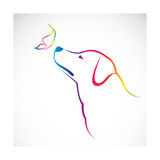 Vector Image of Dog and Butterfly Premium Giclee Print by  yod67