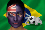 Composite Image of Australia Football Fan in Face Paint with Brasil Flag Photographic Print by Wavebreak Media Ltd