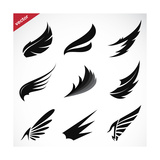 Vector Black Wing Icons Set Posters by  yod67