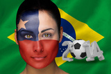 Composite Image of Chile Football Fan in Face Paint with Brasil Flag Photographic Print by Wavebreak Media Ltd