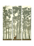 Vertical Banners of Deer in Coniferous Wood. Posters by  Vertyr