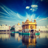 Vintage Retro Hipster Style Travel Image of Famous India Attraction Sikh Gurdwara Golden Temple (Ha Photographic Print by  f9photos