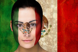 Composite Image of Beautiful Football Fan in Face Paint against Mexico Flag in Grunge Effect Photographic Print by Wavebreak Media Ltd