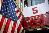 FDNY Truck with American Flag Photo