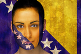 Composite Image of Beautiful Football Fan in Face Paint against Bosnia Flag in Grunge Effect Photographic Print by Wavebreak Media Ltd