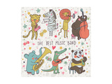 Animals - Musicians. Leopard, Zebra, Panda, Bear, Lion, Elephant, Crocodile are Playing on Classica Print by  smilewithjul