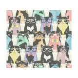 Seamless Pattern with Hipster Cute Cats for Children Poster by cherry blossom girl
