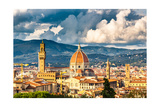 View on Florence and Duomo Cathedral, Italy Poster by  sborisov
