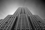 Empire State Building From Street B/W Photo