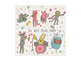The Best Music Band. Cartoon Animals Playing on Various Musical Instruments - Drums, Accordion, Flu Prints by  smilewithjul