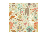 Vintage Floral Seamless Pattern with Forest Animals: Bear, Fox, Owl, Rabbit. Vector Background With Posters by  smilewithjul