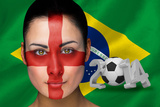 Composite Image of England Football Fan in Face Paint with Brasil Flag Photographic Print by Wavebreak Media Ltd