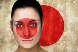Composite Image of Beautiful Football Fan in Face Paint against Japan Flag in Grunge Effect Photographic Print by Wavebreak Media Ltd