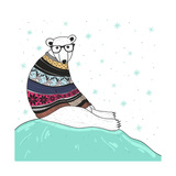 Christmas Card with Cute Hipster Polar Bear. Bear with Fair Isle Style Sweater. Prints by cherry blossom girl
