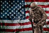 Solider Statue and American Flag by Identical Exposure Foto