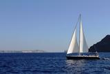 Sailboat on Aegean Sea Santorini Greece Photo