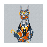 Vector Funny Cartoon Hipster Dog Doberman Pinscher Breed Prints by kavalenkava volha