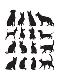 Silhouettes Cats and Dogs Posters by Yuliya Yurchenko