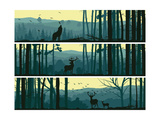 Horizontal Banners of Wild Animals in Hills Wood. Prints by  Vertyr