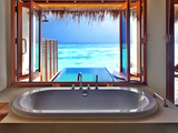 Luxury Beautiful Interior Design on Beach Resort, Window View from Bathroom on Clear Blue Sea, Summ Posters by Anna Omelchenko