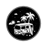 Old Style Bus with Palm Trees Poster af transiastock