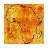Ghana on Actual Map of Africa Prints by  michal812