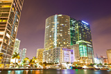 City of Miami Florida Colorful Night Panorama of Downtown Photographic Print by  Fotomak