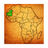 Mauritania on Actual Map of Africa Prints by  michal812