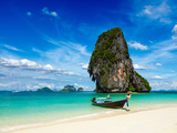Long Tail Boat on Tropical Beach with Limestone Rock, Krabi, Thailand Photographic Print by  f9photos