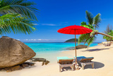 Tropical Beach Scenery with Deck Chairs in Thailand Photographic Print by Patryk Kosmider