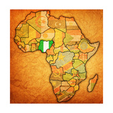 Nigeria on Actual Map of Africa Premium Giclee Print by  michal812