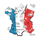 Stylized Map of France. Things that Different Regions in France are Famous For. Posters by Alisa Foytik