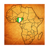 Nigeria on Actual Map of Africa Art by  michal812