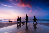 Family Walk on the Beach at Sunset Photographic Print by PHOTOCREO Michal Bednarek