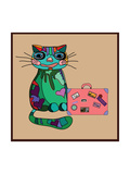 Concept Cat in Cartoon Style. Vector Illustration. Travel Concept: the Cat and a Suitcase to Travel Prints by De Visu