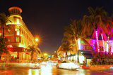 Miami Beach Florida Colorful Night Summer Scene Photographic Print by  Fotomak