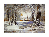 Winter Landscape with Church in Wood Poster by  balaikin2009